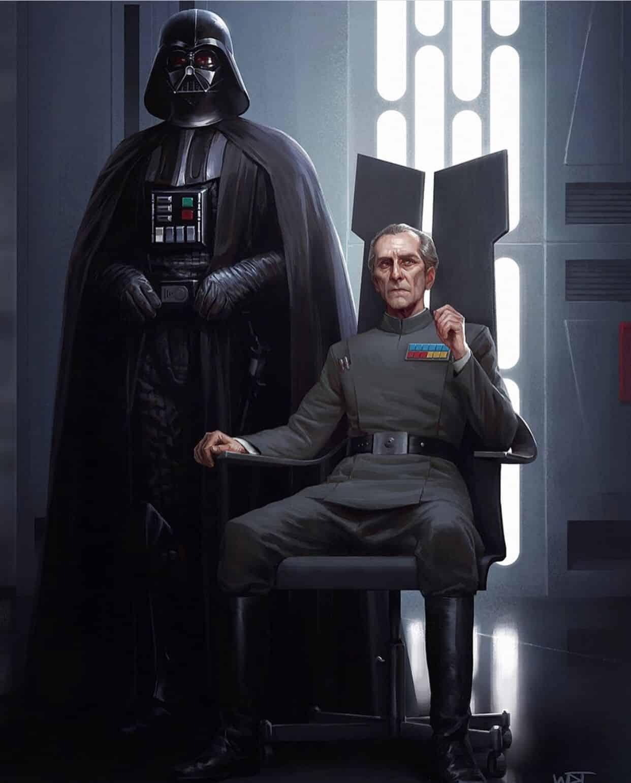 Darth Vader Grand Moff Tarkin en la Estrella de la muerte