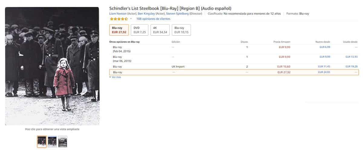 La Lista de Schindler Steelbook