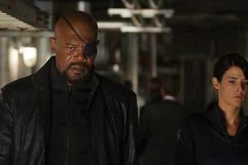 Nick furia (Samuel L. Jackson) y Maria Hill (Cobie Smulders) en Spider-man: Lejos de casa