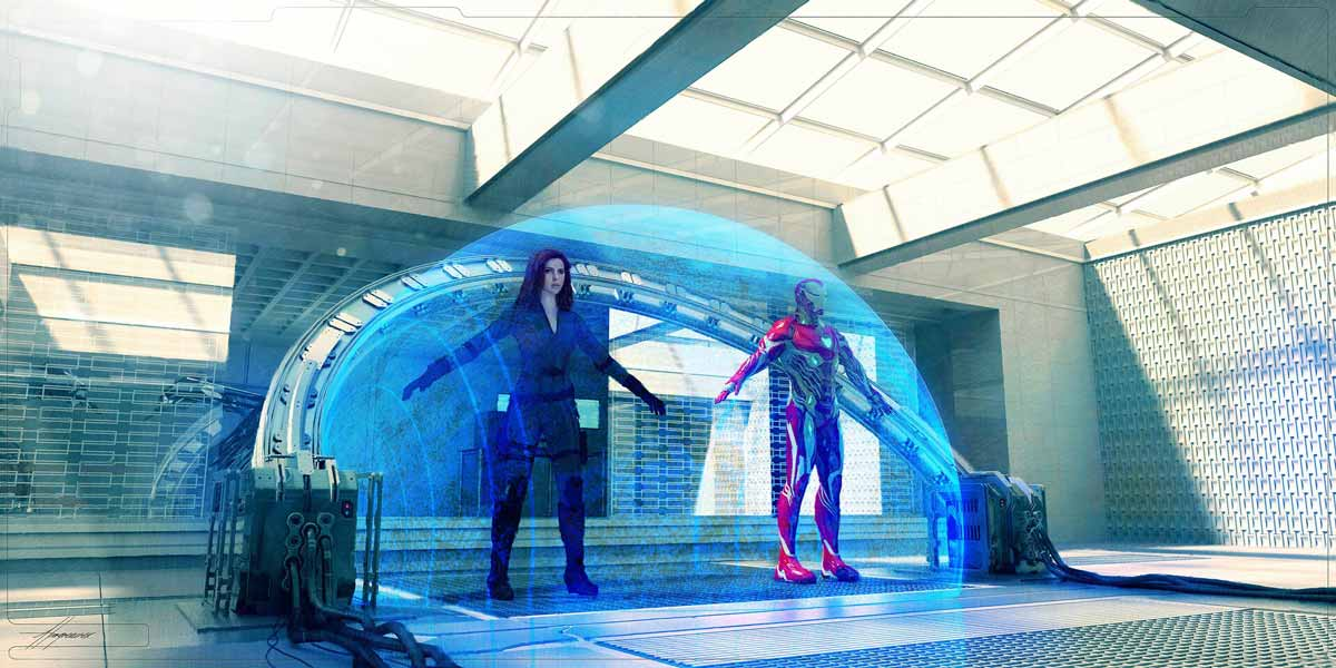 Iron Man y Viuda negra viajando en el tiempo