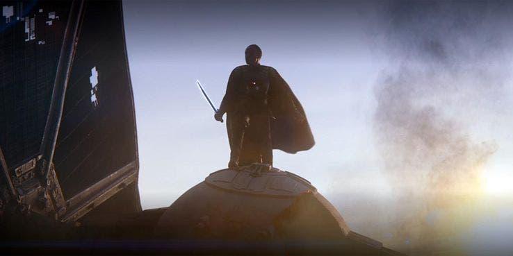 the mandalorian Moff Gideon con el sable oscuro