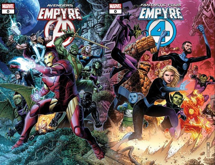 Portadas de Vengadores y Los cuatro fantásticos