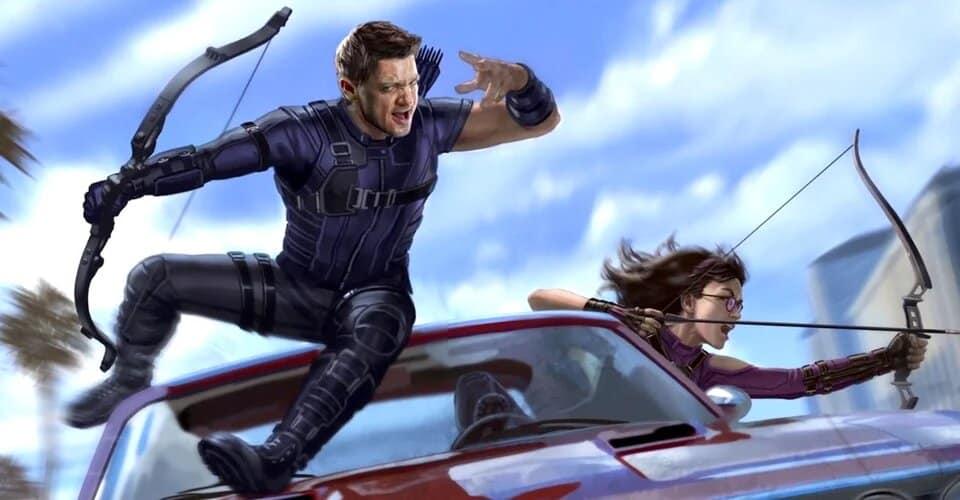 Concept art de Ojo de Halcón con Jeremy Renner como Clint Burton junto a Kate Bishop