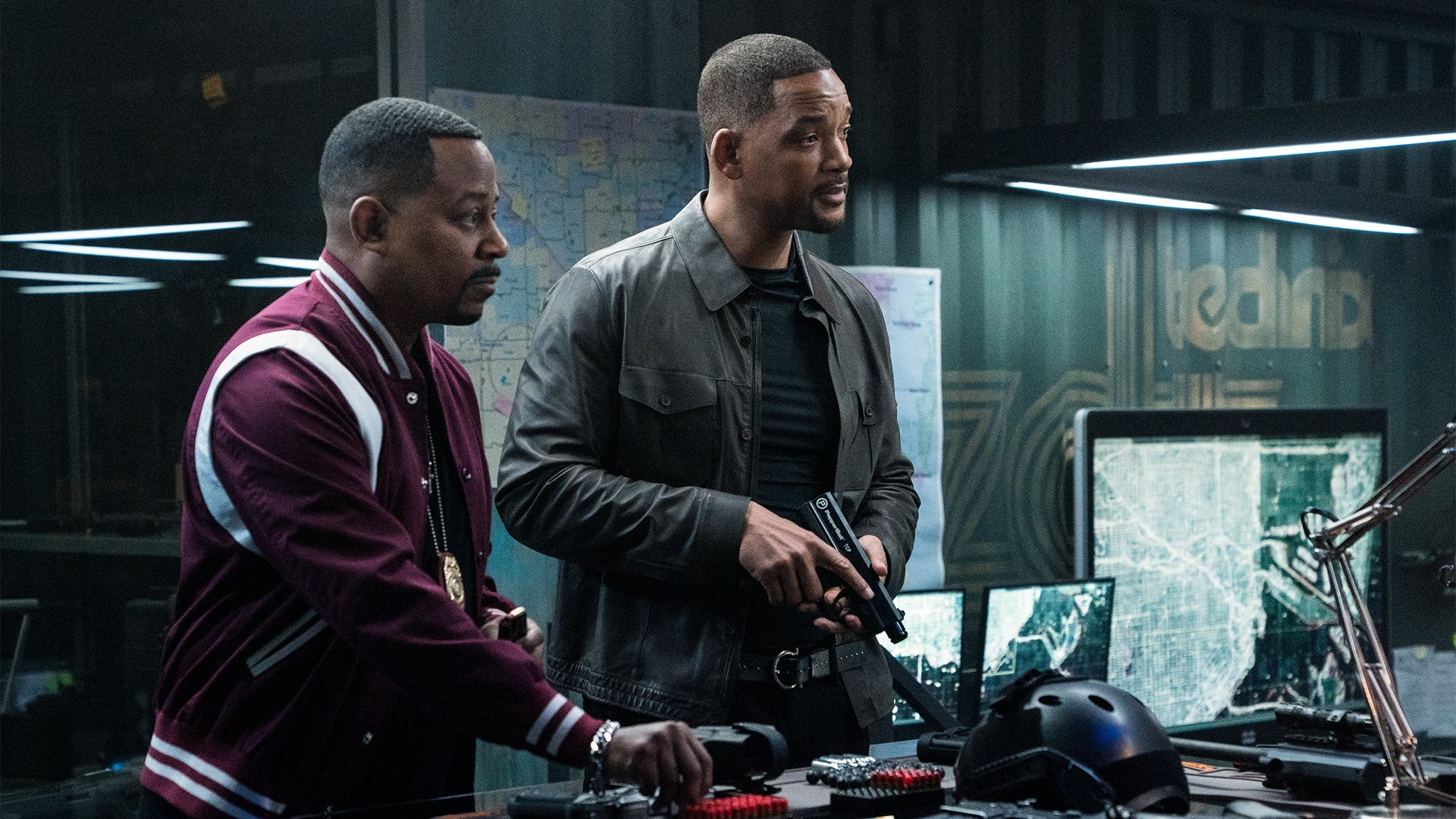 Mike Lowrey (WILL SMITH), Marcus Burnett (MARTIN LAWRENCE) prepping their new non-lethal weapons in Columbia Pictures' BAD BOYS FOR LIFE.