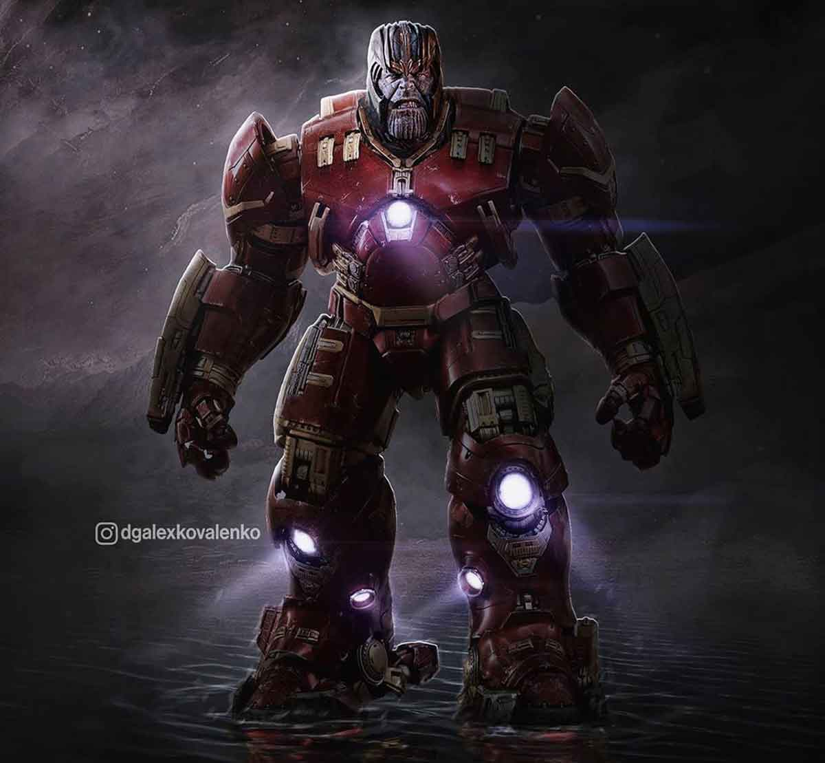 Fan Art de Thanos con la armadura Hulkbuster de Iron Man