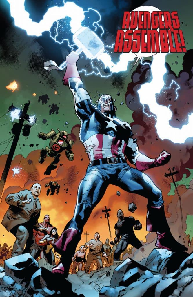 Viñeta de fear itself con el Capitán América empuñando el Mjolnir