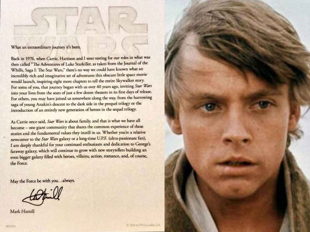 Mark Hamill se despide de Luke Skywalker con una emotiva carta