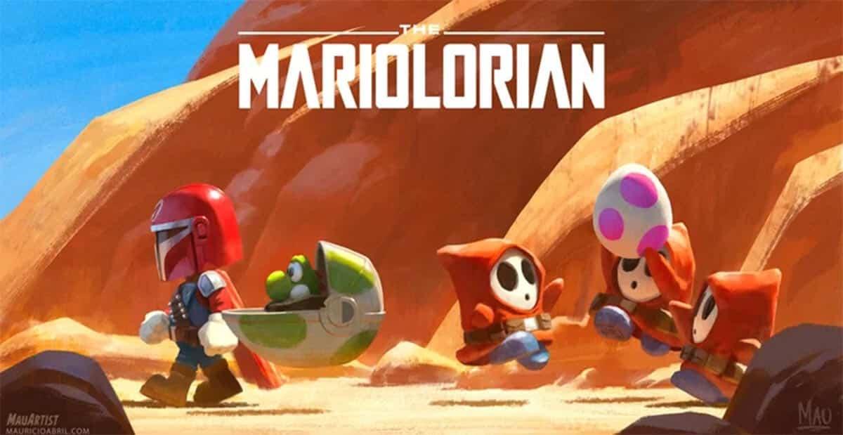 Divertido Fan Art de El Mandaloriano estilo Super Mario Bros