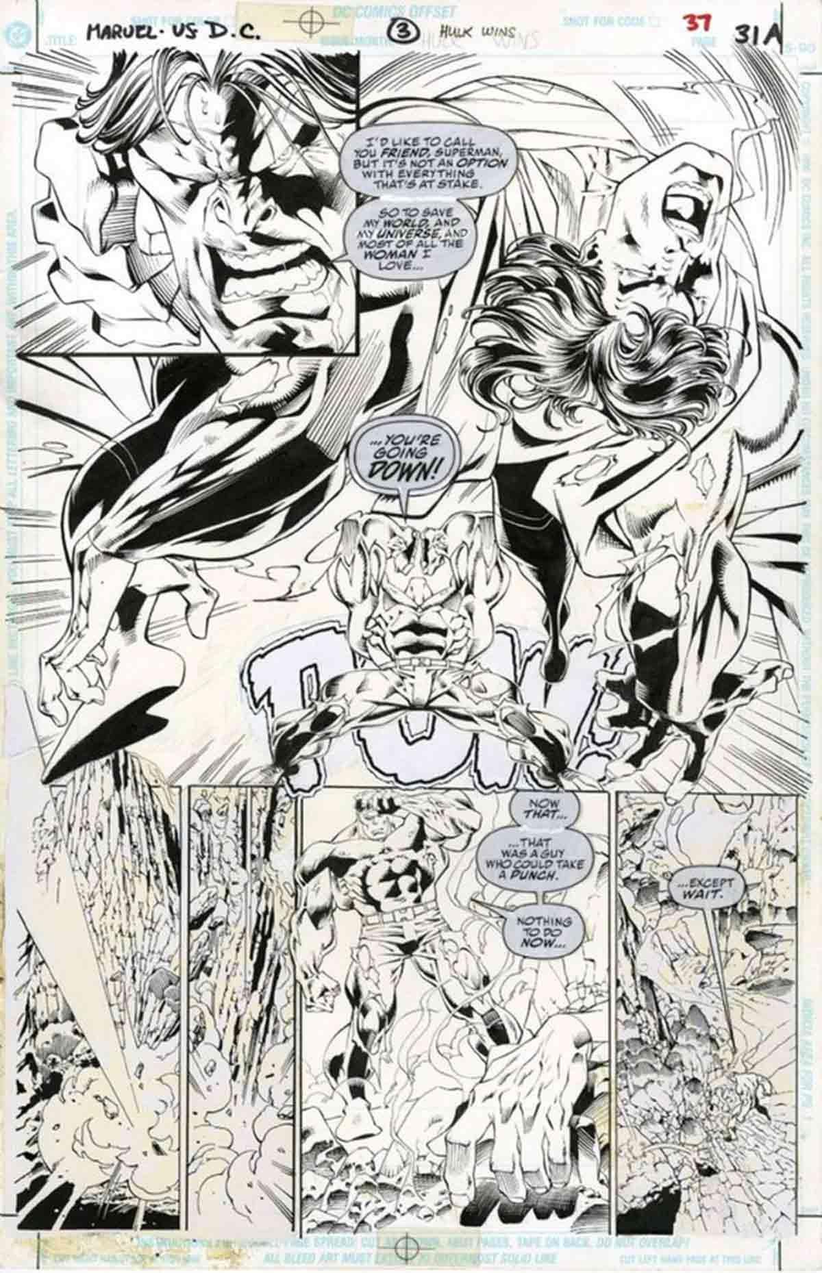 Hulk aplasta a Superman en un cómic que nunca se publicó