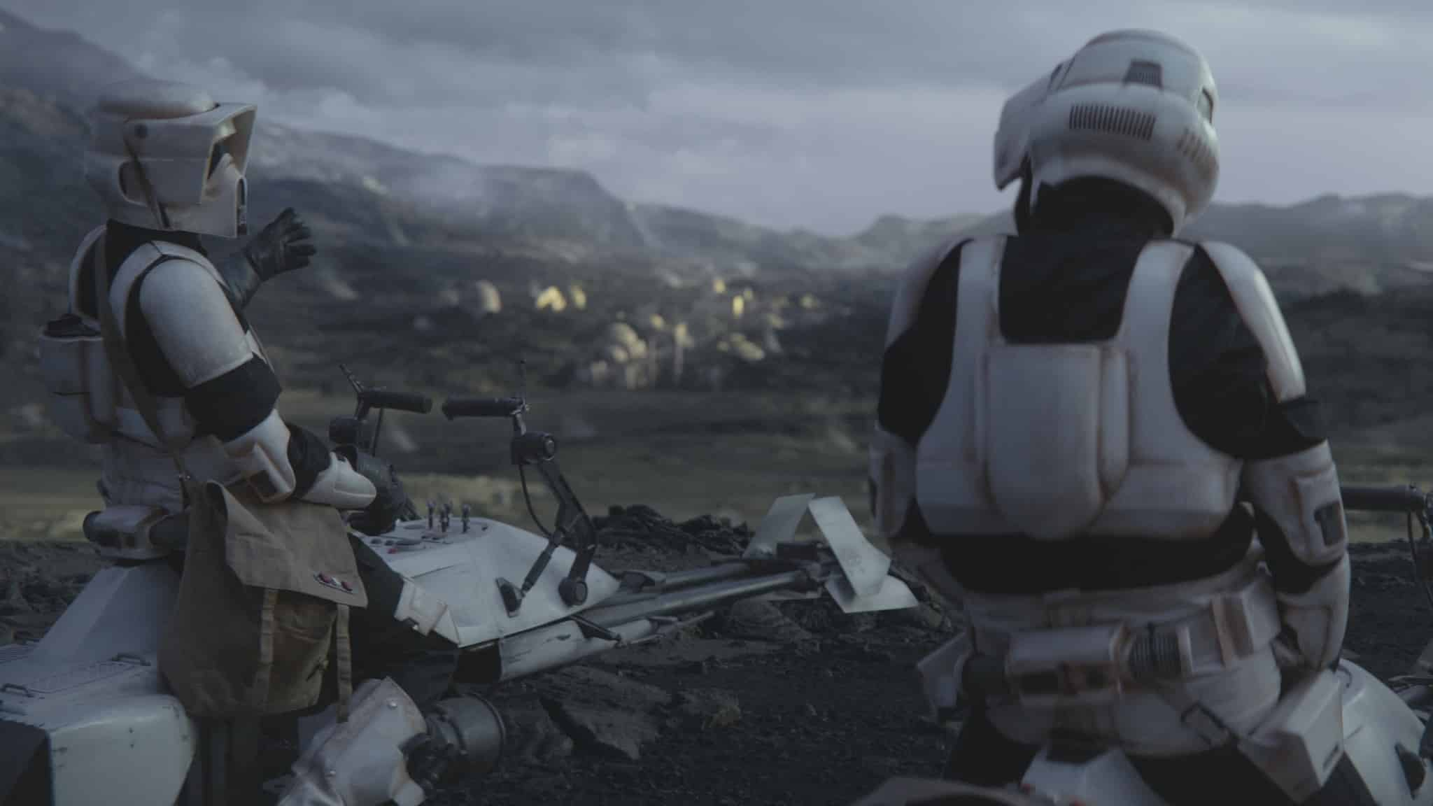 Scout troopers wary the mandalorian