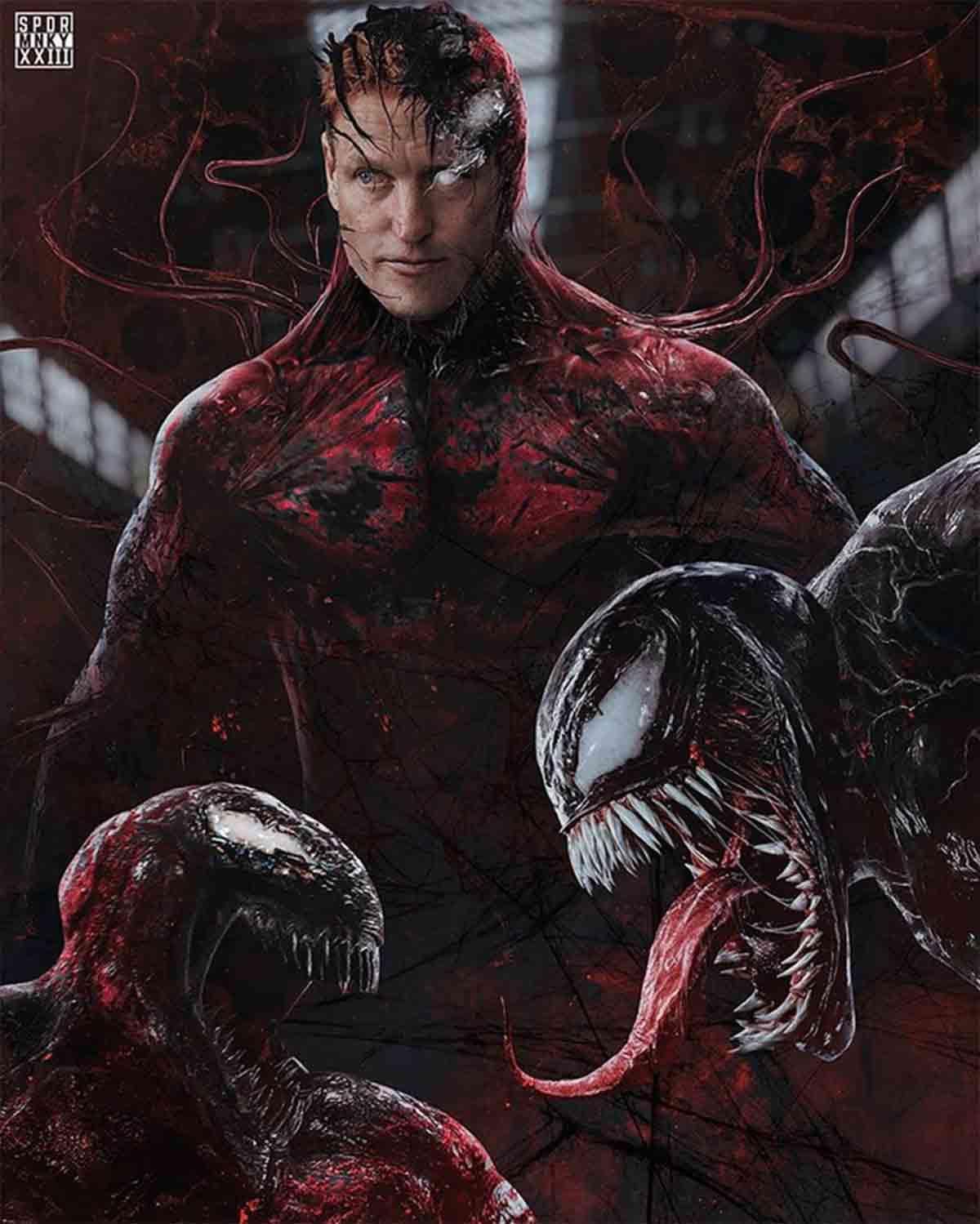 Espectacular Fan Art de Woody Harrelson como Carnage en Venom 2