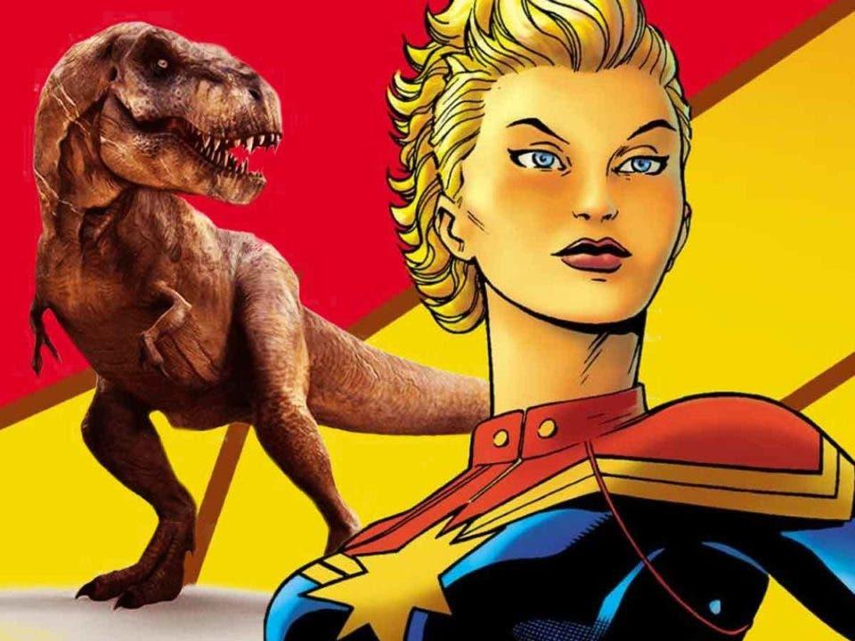 Capitana Marvel mató a un dinosaurio de un puñetazo