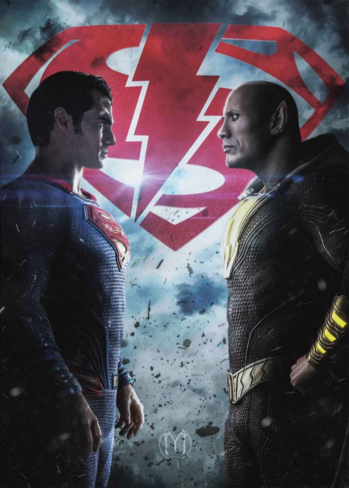 Espectacular Fan Art de Superman (Henry Cavill) vs Black Adam (Dwayne Johnson)