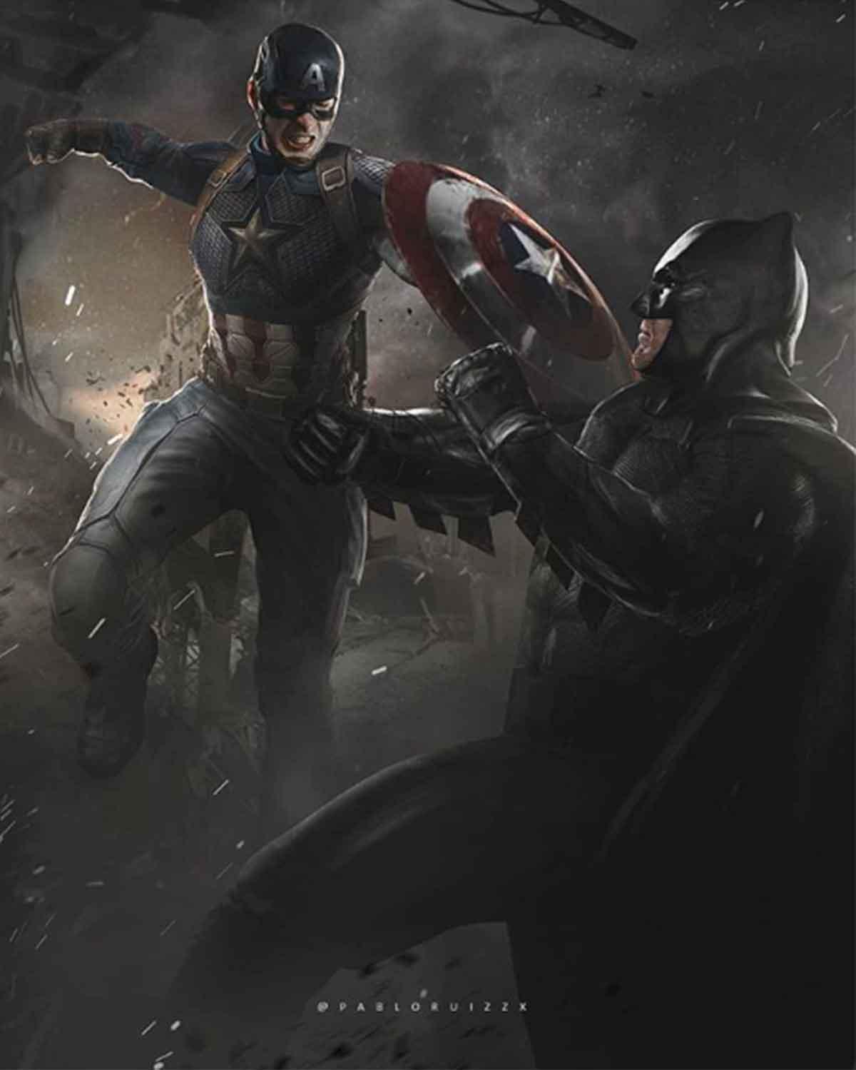 Espectacular Fan Art de Capitán América vs Batman