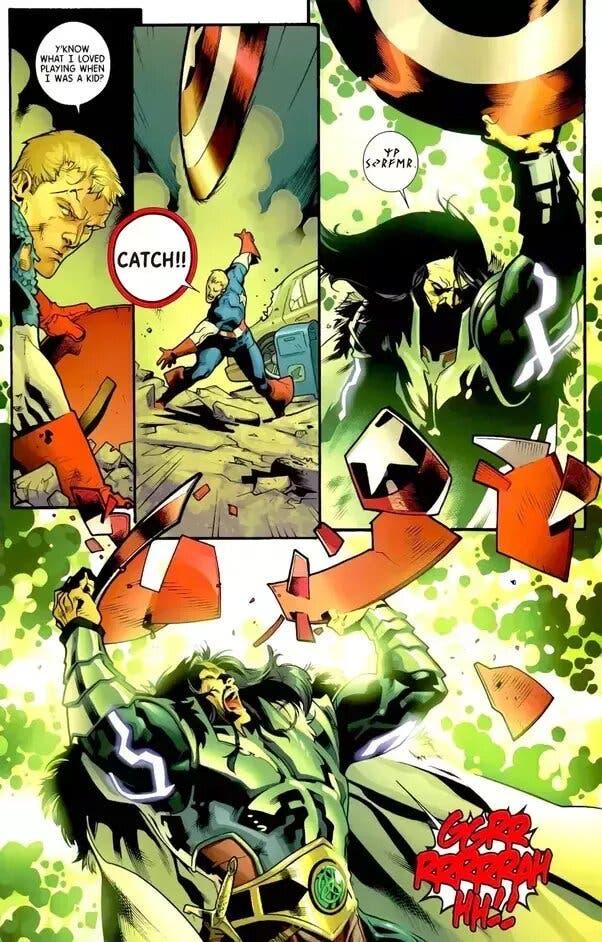 serpiente rompe el escudo de Capitán América