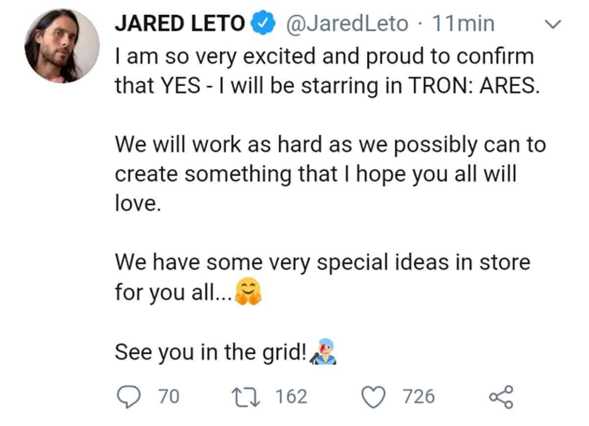 Jared Leto revela el título de Tron 3 y luego borra el Tweet