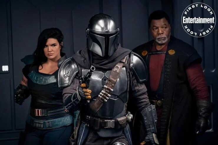 Cara Dune Din Djarin and-Greef Karga in The Mandalorian season -2