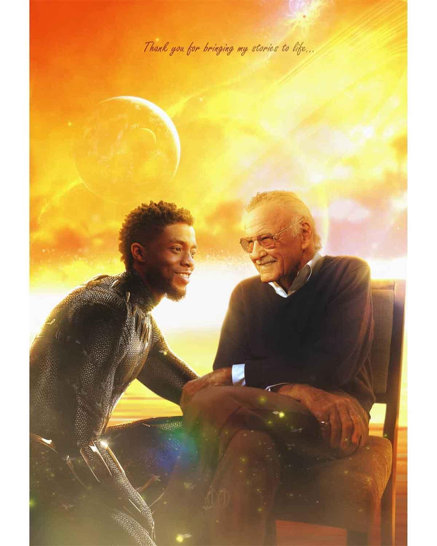 Espectacular Fan Art tributo a Chadwick Boseman y Stan Lee
