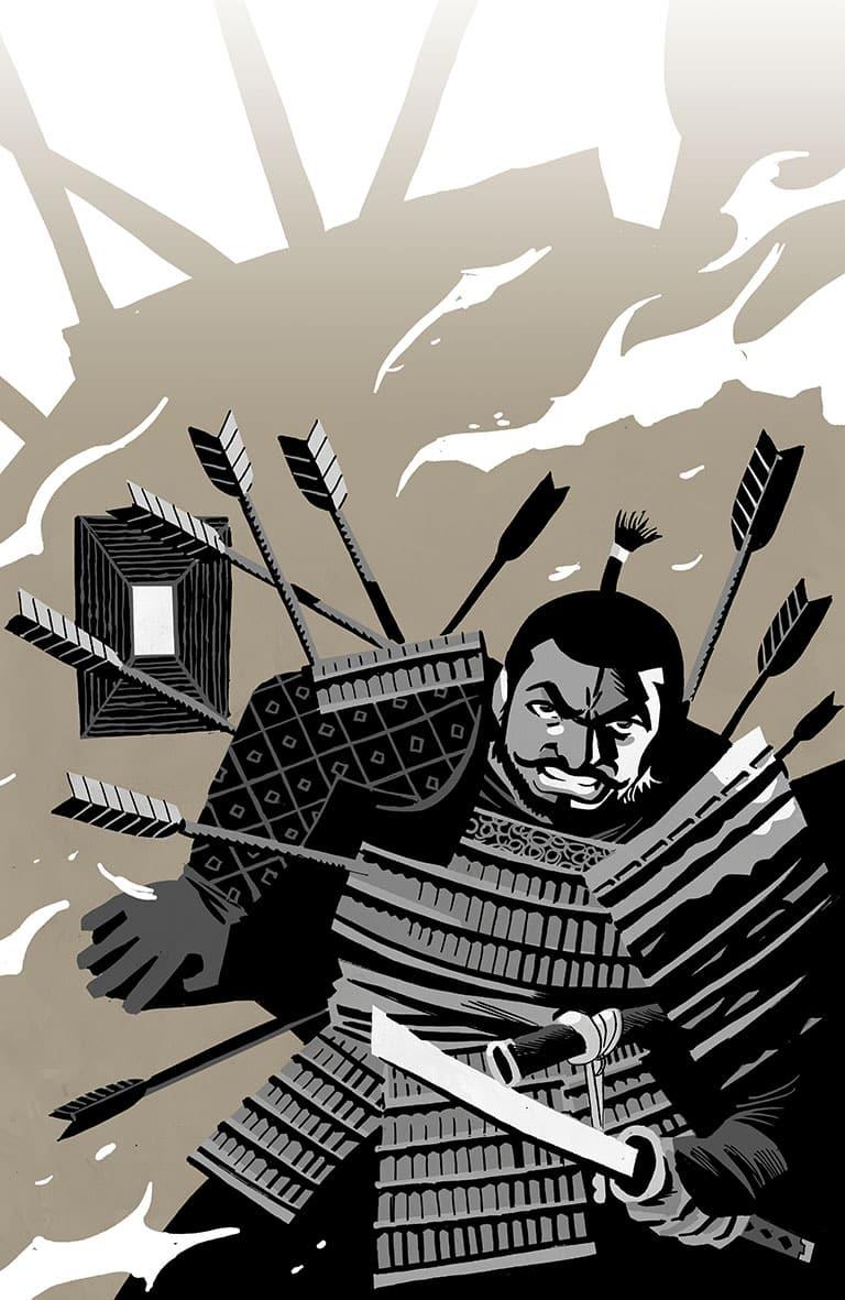 ilustración de víctor Santos kurosawa: El samurái caído