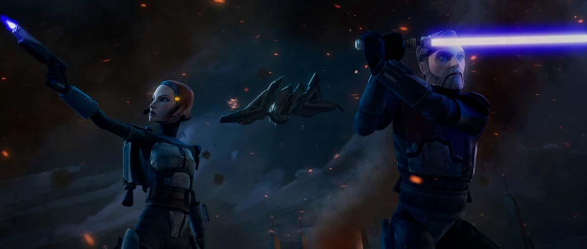 Bo-Katan y Kenobi en la batalla de Sundari