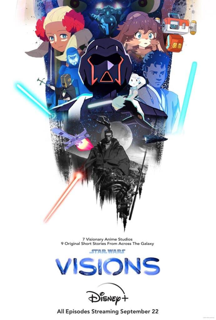 Póster oficial de Star Wars: Visions con sus personajes